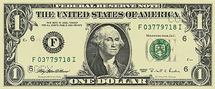 Банкнота - один доллар США, USD