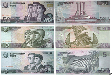 Вона КНДР, новые денежные знаки, KPW. Деноминация в Северной Корее, 2009 год