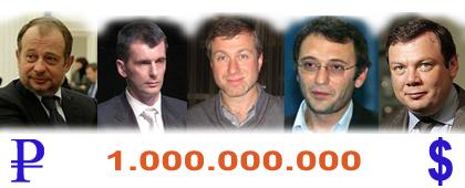 Рейтинг российских миллиардеров - 2010. Топ-5 российских миллиардеров по версии делового журнала Финанс